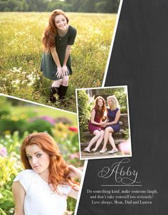 Layout: senior ad idea, very simple, won't need many pictures, and can have a template