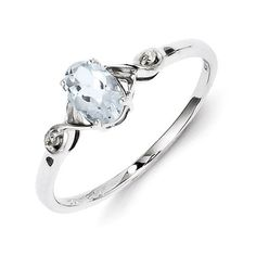 Sterling Silver Rhodium Plated Diamond And Aquamarine Oval Ring