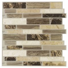 Peel&Stick Mosaics Verona Beige Linear Mosaic Composite Wall Tile (Common: 10-in x 10-in; Actual: 9.4-in x 10-in)