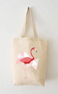 Sac / Tote Bag Flamant rose Coton Bio par AdelFabric sur Etsy