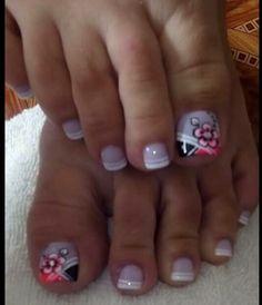 Toenail Art Designs, Pedicure Designs, Nail Polish Designs, French Pedicure, Pedicure Nail Art, Toe Nail Art, Cute Toe Nails, Love Nails, Fun Nails
