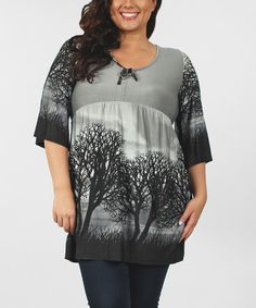This Black & Gray Trees Empire-Waist Tunic - Plus is perfect! #zulilyfinds