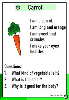 Reading Passages about Vegetables with Comprehension Questions