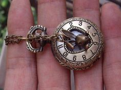 Roman numerals Heart-shaped hollow Pocket watch Locket Necklace, with a cute rabbit