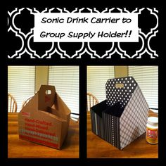Sonic Drink Carrier to Group Supply Holder! Spray paint the inside of the carrier any color, then add scrapbook paper and mod podge. Will probably need to put a small plastic cup in each space to keep supplies together.