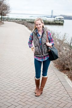 It's Friday, I'm in Love: with Plaid, Herringbone and Comfy Brown Boots | Kelly in the City