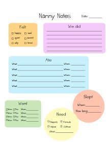 nanny schedule template for baby to download the nanny chart as