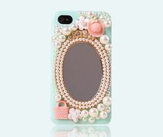 DIY Phone Case -  Cute Mirror Cap Handbag Pearl Phone Case for iPhone 5 iPhone 4 4s Case Pick Color on Etsy, $11.00