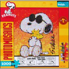 """This Photomosaic Peanuts Joe Cool 1,000-piece Puzzle combines thousands of miniature Peanuts images to make one awesome portrait! This finely crafted 1,000-piece jigsaw puzzle features the icon of """"cool"""", Joe Cool himself, a beloved Snoopy character with his friend, Woodstock.  $14.99  http://www.calendars.com/Cartoons-and-Comics/Peanuts-Joe-Cool-Photomosaic-1000-Piece-Puzzle/prod201100008505/?categoryId=cat00046=cat00046#"""