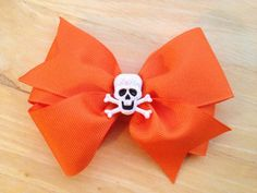 Halloween hair bow  skeleton hair bow by BrownEyedBowtique on Etsy, $5.50