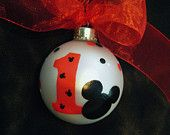 Personalized Mickey Mouse Ornament  - Mickey Mouse Birthday Party Favor - Hand Painted Glass Ball Birthday Ornament -