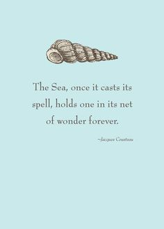 The Sea, once it casts its spell, holds one in its net of wonder forever.    — Jacques Cousteau