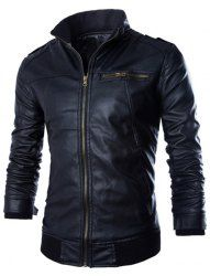 PU Leather Stand Collar Horizontal Zipper Epaulet Rib Spliced Long Sleeves  Slimming Jacket For Men (