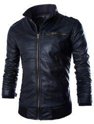PU Leather Stand Collar Horizontal Zipper Epaulet Rib Spliced Long Sleeves Slimming Jacket For Men (BLACK,M) | Sammydress.com Mobile