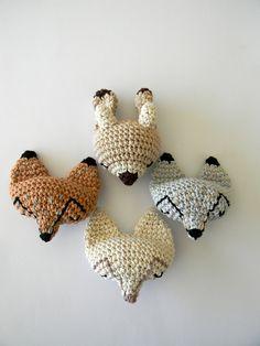 crochet fox-pins