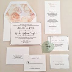 """Brides.com: 25 Colorful Wedding Invitations for Spring """"Herbal Botanical"""" wedding invitation suite with custom watercolor illustrations, starting at $675 for 100 invitation suites, Seahorse Bend PressPhoto: Amy Roth Photo"""
