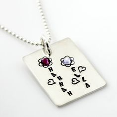 Personalized Mother's Garden Hand Stamped Necklace by PunkyJane, $70.00