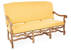"One Kings Lane - Gather Together - Rosalyn 69"" High-Back Settee, Butter"
