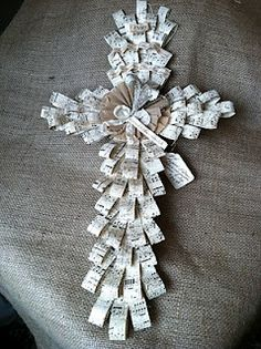 this beautiful palm cross, patterned after the real palm leaf crosses (made with…