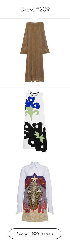 """Dress #209"" by bliznec-anna ❤ liked on Polyvore featuring dresses, long-sleeve midi dresses, rib knit dress, metallic dress, bell sleeve dress, midi dress, jacquard dress, graphic print dress, striped shirt dress and mary katrantzou dress"