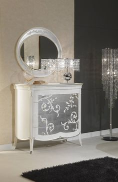 Art Decò collection, luxury furnishings for the night area. Bed, night tables, chest of drawers and mirror of Art Decò collection, Vimercati Meda Made in Italy artisan furnishings