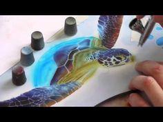 Airbrush Tutorial: Turtle Sealife Stencil Harder & Steenbeck Airbrush Anleitung - YouTube