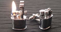 Vintage Lighter Cufflinks (with Fire!): Nothing better than a man with french cuff shirts, except a man with french cuffs and original links. Der Gentleman, French Cuff Shirts, Cool Stuff, Stuff To Buy, Men Stuff, Random Stuff, Funny Stuff, Spy Gadgets, Electronics Gadgets