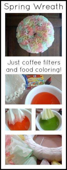 Make a gorgeous spring wreath with just coffee filters and food coloring!