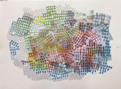 "Jane Kruss ""Trial Balloon""mixed media on rag paper"