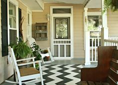 Amazing porch with painted chevron carpet.
