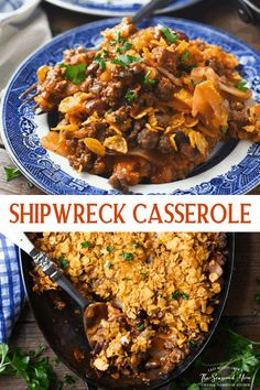 Shipwreck Casserole is a vintage ground beef recipe that comes together easily with layers of hamburger, potato, kidney beans and tomato soup. Zesty taco seasoning, bacon, cheese, and a buttery Corn Flake topping finish off the flavorful dish. It's a simple make-ahead dinner that's hearty, flavorful, and totally kid-friendly! Delicious Dinner Recipes, Delicious Food, Yummy Recipes, Hotdish Recipes, Buttered Corn, Ground Beef Casserole, Kidney Beans, Tomato Soup, Taco Seasoning
