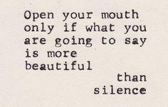 When  to speak......