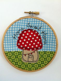 Pixie 'Home Sweet Home' Toadstool House Embroidery Hoop Art Wall Hanging New Home