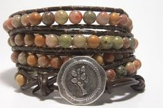 Autumn Colors - Leather Wrap Bracelet, Beaded Wrap Around Bracelet, Brown Leather Jewelry.