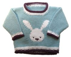 Rabbit Crew Neck pattern by Gail Pfeifle, Roo Designs - Kaninchen Baby Boy Knitting Patterns, Baby Sweater Patterns, Knit Baby Sweaters, Knitting For Kids, Baby Patterns, Knit Patterns, Knitting Projects, Baby Knitting, Crochet Baby