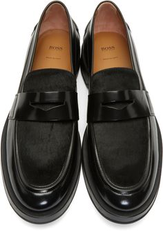 Boss black calf-hair loafers in 001 black; Wish list and beautiful styles from SSENSE for designer shoes, bags, and cloth! Leather Loafers, Loafers Men, Leather Boots, Mens Fashion Shoes, Sneakers Fashion, Sock Shoes, Shoe Boots, Adidas Campus Shoes, Mens Wardrobe Essentials