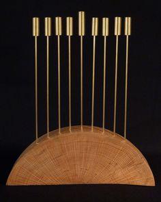 A Contemporary Oak and Brass Hanukkah Lamp $550
