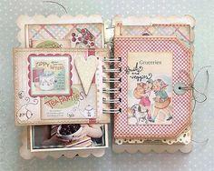 recipe scrapbook, mini book, vintage book illustration