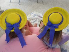 Cute Madeline Hats (Made from paper plate, paper bowl and crepe paper)