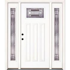 Feather River Doors Preston Craftsman Primed Smooth Fiberglass Entry Door with Sidelites-A42105-3A4 at The Home Depot