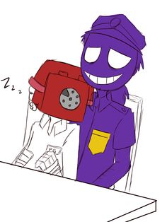 Purple guy and phone guy
