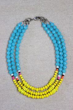 Bright blue crystal necklace 3 strand by StarsonMarsJewelryCo