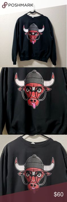 Hipster Chic Crew Neck NBA Chicago Culls Check out this rare find!!!  Chicago bulls logo black crew neck Bull is wearing a beanie and oversized glasses  This is a rare find and makes for a really cute piece of vintage street clothing. Sweatshirt is in good condition. chicago bulls Tops Sweatshirts & Hoodies