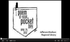 Poem in Your Pocket Day - - short poems for pocket poem day Poetry Activities, Library Activities, Library Science, Poetry Foundation, National Poetry Month, American Poets, School Vacation, Poetry Unit, Teaching Poetry