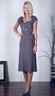 Great website for modest dresses-square pear joy!  Sweep waist with a bow...AND a flower!