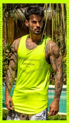 The Neon fashion trend seems to be here to stay! Check out this amazing Neon Yellow Silver Sunrise Vest, perfect for Neon Lovers! Find it quickly by clicking here! Neon Yellow, Streetwear Fashion, Tank Man, Sunrise, Cool Style, Street Wear, Vest, Silver, Mens Tops