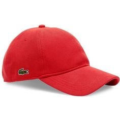 Lacoste Pique-Textured Cap ($40) ❤ liked on Polyvore featuring men's fashion, men's accessories, men's hats, grenade and mens caps and hats