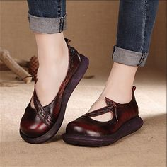 Spring handmade genuine leather shoes retro shoes with thick hollow muffin bottom slope leisure shoes(China (Mainland)) Funky Shoes, Retro Shoes, Vintage Shoes, Cute Shoes, Women's Shoes Sandals, Shoe Boots, Women's Feet, Mary Jane Shoes, Womens Flats