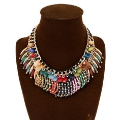 [USD7.81] [EUR7.23] [GBP5.58] Multi- Colored Crystal Gemstones Inlaid Alloy Long Section Of Rope Made Beaded Necklace (Colour: Color)