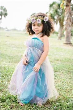 Beautiful...love the colors of the dress hair wreath flower girl
